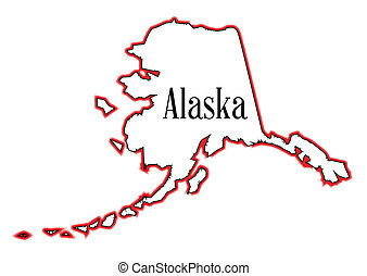 Alaska - Outline of the state of Alaska isolated