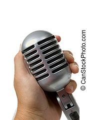 Vintage Microphone - Vintage micorphone on white background...