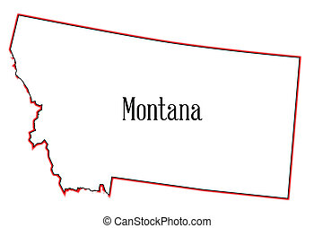 Montana - Outline of the state of Montana isolated