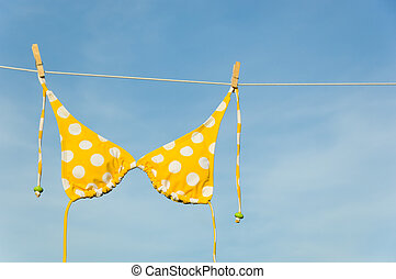 Yellow Polka Dot Bikini - An itsy-bitsy teeny weeny yellow...