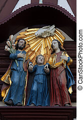 Holy Family, statue on the main street of Miltenberg in...