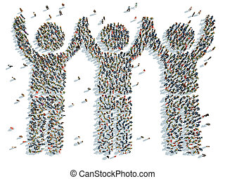 f people with their hands raised - illustration of people...
