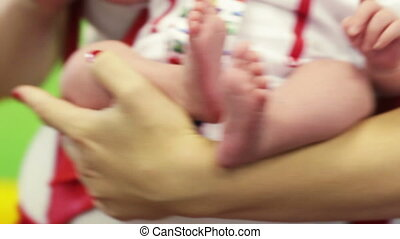 Mother newborns - Newborn baby girl on hands at mother