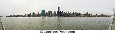 Manhattan, contorno, nuevo, York, ciudad, largo, isla,...