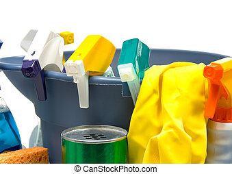 Cleaning supplies - Miscellaneus cleaning supplies on white...