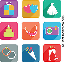 flat wedding icons - set of wedding icons
