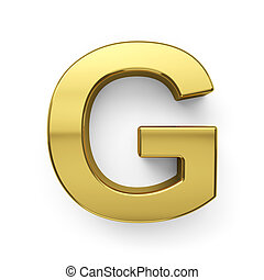 3d render of golden alphabet letter simbol - G. Isolated on...
