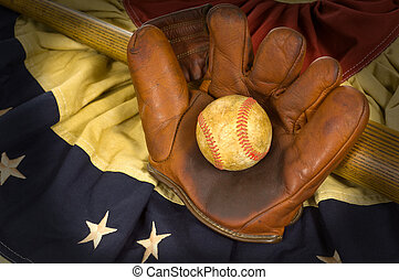 Antique Baseball Items - Antique baseball glove, ball and...