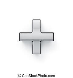metalic arithmetic plus simbol - + - 3d render of metalic...