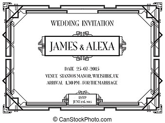 art deco invitation - an art deco style invitation card