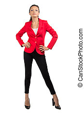 Businesswoman in red jacket