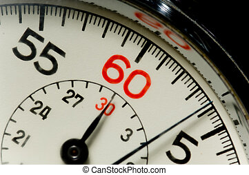 Stop watch - Close-up of 60 second stop watch- crystal of...