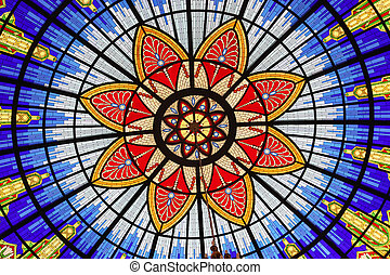 Stained glass window in the Museum of the Macedonian...