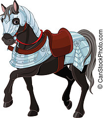 War horse - Illustration of black war horse