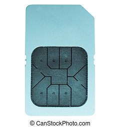 Sim card - Mobile phone sim card - cool cyanotype