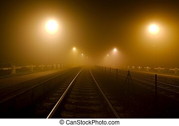 Rails in the fog at night