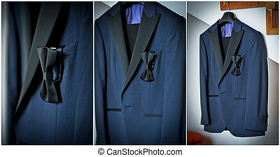 Wedding ultramarine suit and black bow Formal groom suit...
