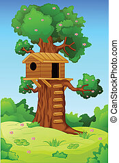 Tree house  - vector illustration of tree house