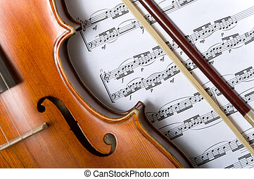 Violin and bow on music - A violin or fiddle and bow on...
