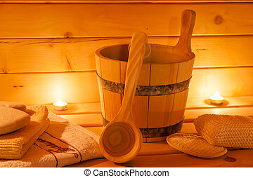 interior of sauna and sauna accessories - sauna interior and...