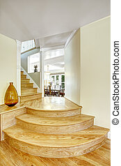 Walk-through with round steps in light brown color. Light...