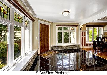vestíbulo, negro, brillante, azulejo, piso, piedra,...