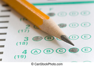 Pencil and Test - Yellow pencil on multiple choice test...