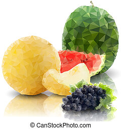 sprig of grapes, melon and watermelon isolated, triangle design vector illustration