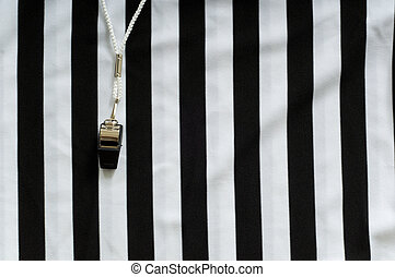 Referee Jersey and whistle - black and white striped referee...