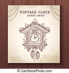 Old retro cuckoo clock card - Old vintage retro sketch...