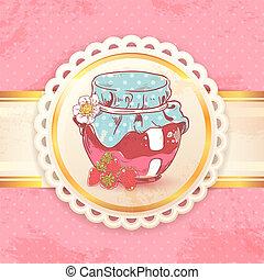 Strawberry jam retro background - Homemade strawberry jam...
