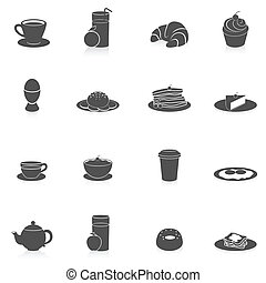 Breakfast Icons Black - Breakfast tasty food and drink icon...