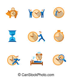 Time management icons set - Efficient and cost effective...