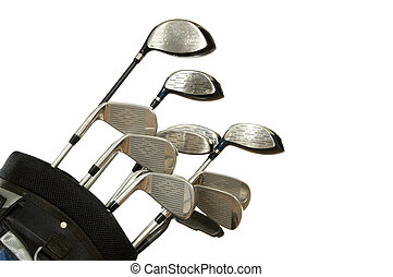 Golf Clubs on White - Set of Golf clubs on white background,...