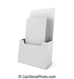 Brochure holder. 3d illustration isolated on white...