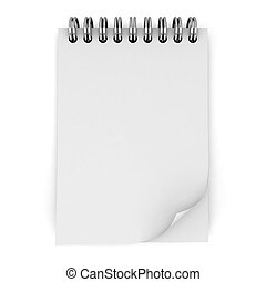 Blank notebook 3d illustration isolated on white background...