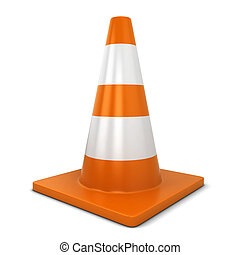 Traffic cone 3d illustration isolated on white background