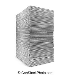 Big paper stack. 3d illustration isolated on white...