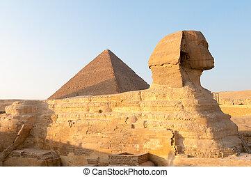 den, sfinx, Giza, -, Kairo, egypten