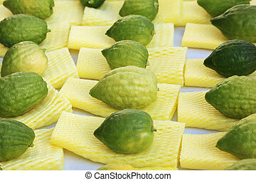 The Jewish holiday of Sukkot. Ritual fruit - citrus on the...
