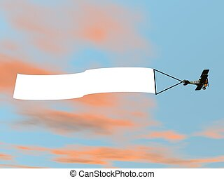 Biplane aircraft pulling advertisement banner - 3D render -...