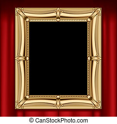 Gold frame - Vector gold frame on a red curtain
