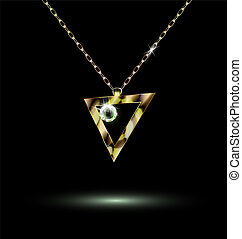 triangular pendant - dark background and a jewelry chains...