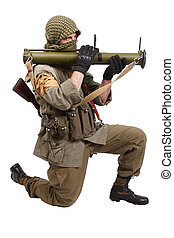 mercenary with anti-tank rocket launcher - RPG