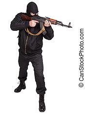 ladrón, negro, uniforme, máscara, Kalashnikov,...