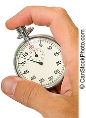 Stop Watch - A caucasian mail hand holding a stopwatch on a...