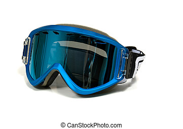 Ski Goggles - Snow Skiing goggles on white background with...