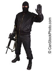 robber in black uniform and mask with m4 rifle isolated