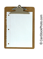 Clipboard and Paper - Office or school clipboard with a...