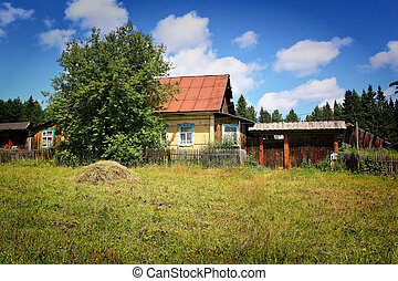 wooden rural house in Russia - traditional wooden rural...